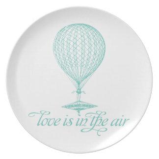 Ámelo en el aire - placa del globo del aire plato