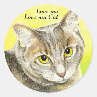 Ámeme, ame a mi pegatina del gato