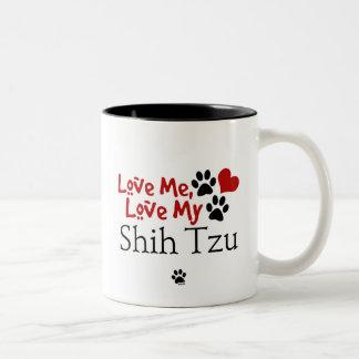 Ámeme, ame a mi Shih Tzu Taza De Dos Tonos