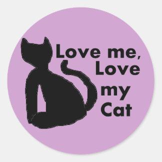 Ámeme, ame a mis PEGATINAS del gato Etiquetas Redondas