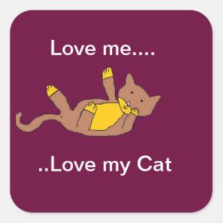 ámeme, ame a mis pegatinas del gato colcomanias cuadradass