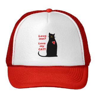 ¿Ámeme? Ame mi gato negro del gato Gorros Bordados