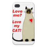 ¿Ámeme? Ame mi gato siamés del gato iPhone 4/4S Fundas