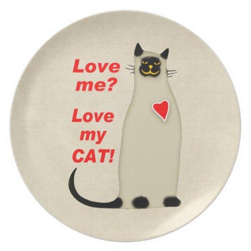 ¿Ámeme? Ame mi gato siamés del gato Platos Para Fiestas