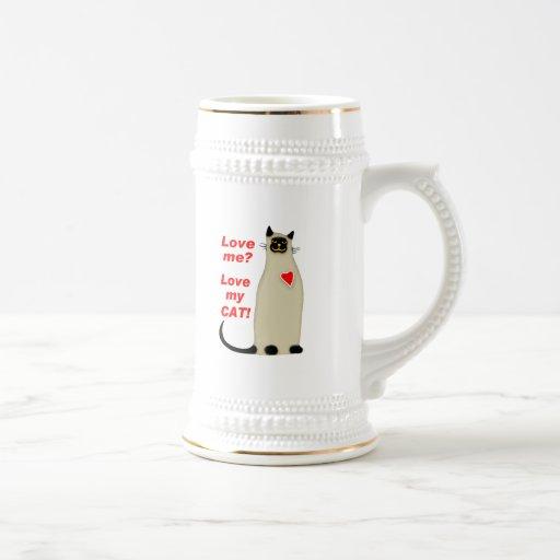¿Ámeme? Ame mi gato siamés del gato Tazas De Café