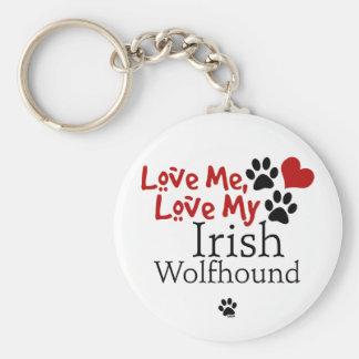 Ámeme, ame mi Wolfhound irlandés Llavero Redondo Tipo Pin