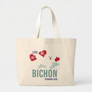 Ámeme amor la mi bolsa de asas de Bichon
