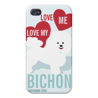 Ámeme amor mi célula de Bichon ostentosa iPhone 4 Fundas