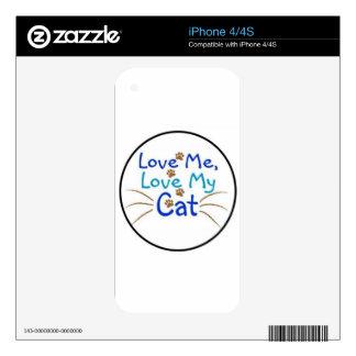 ámeme amor mi gato calcomanías para iPhone 4S