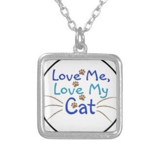 ámeme amor mi gato colgante cuadrado