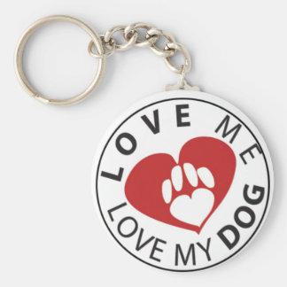 Ámeme amor mi perro llavero redondo tipo pin