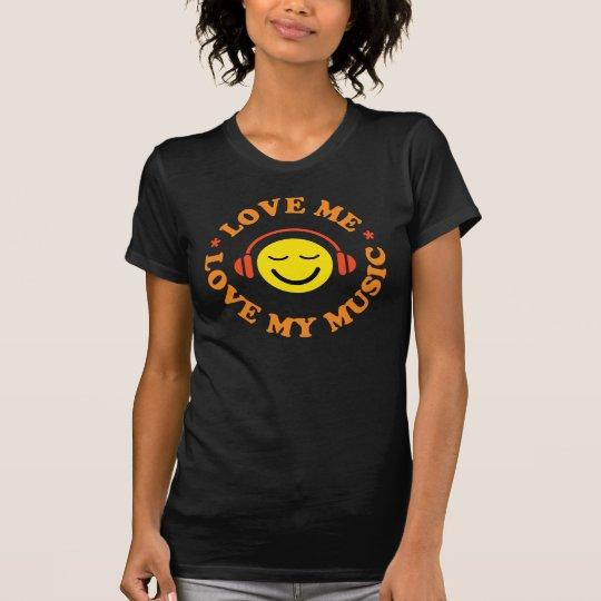 Ámeme amor mi smiley de la música con la camiseta
