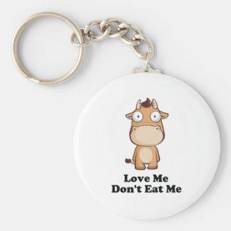 Ámeme no me comen diseño de la vaca llavero redondo tipo pin