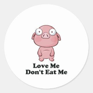 Ámeme no me comen diseño del cerdo etiqueta