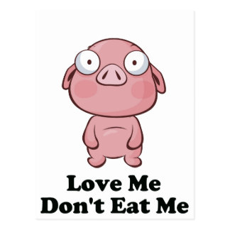 Ámeme no me comen diseño del cerdo postales
