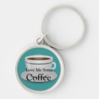 Ámeme un poco de café llavero redondo plateado