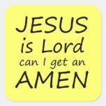 Amen pegatinas de Jesús Calcomanias Cuadradas