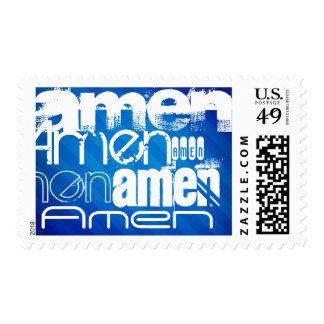 Amen; Royal Blue Stripes Postage Stamps