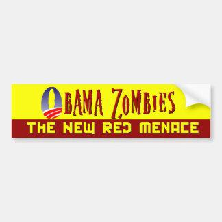 Amenaza del rojo del zombi de Obama Pegatina De Parachoque
