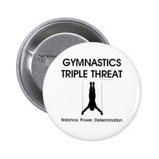 Amenaza SUPERIOR del triple de la gimnasia (hombre Pin Redondo 5 Cm