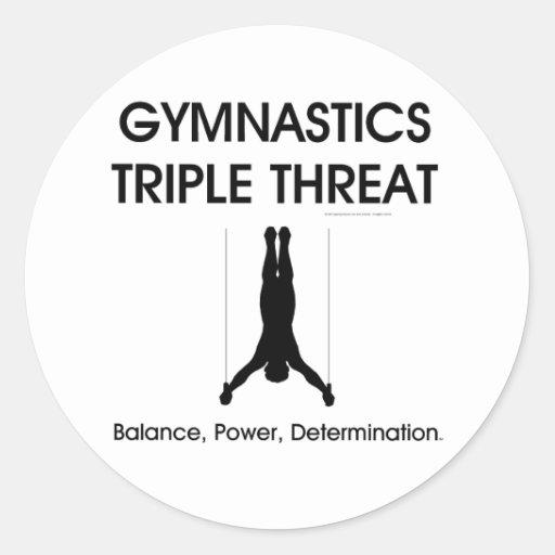Amenaza SUPERIOR del triple de la gimnasia Etiquetas Redondas