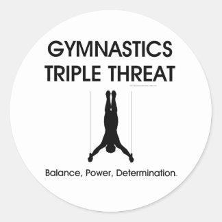 Amenaza SUPERIOR del triple de la gimnasia Pegatina Redonda