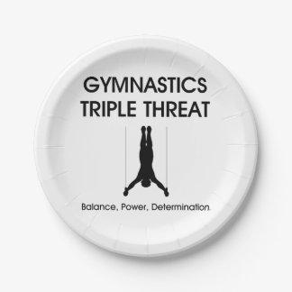 Amenaza SUPERIOR del triple de la gimnasia Plato De Papel 17,78 Cm