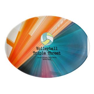 Amenaza SUPERIOR del triple del voleibol Badeja De Porcelana