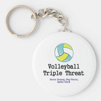 Amenaza SUPERIOR del triple del voleibol Llavero Redondo Tipo Pin