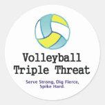 Amenaza SUPERIOR del triple del voleibol Etiquetas Redondas