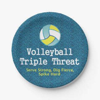 Amenaza SUPERIOR del triple del voleibol Plato De Papel De 7 Pulgadas