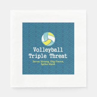 Amenaza SUPERIOR del triple del voleibol Servilletas De Papel