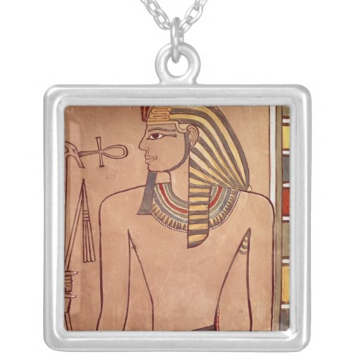 Amenhotep II  with an ankh raised to his lips Silver Plated Necklace