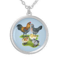 Ameraucana Chicken Family Silver Plated Necklace