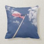 Amercan flag blue sky clouds throw pillows