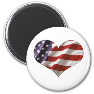 Amercan Heart Flag 2 Inch Round Magnet