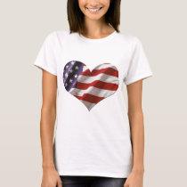 Amercan Heart Flag Love USA T-Shirt
