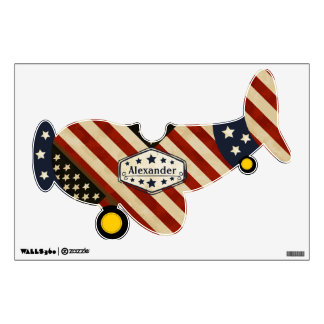 Amercian Personalized Plane Baby Boy or Toddler Wall Decal
