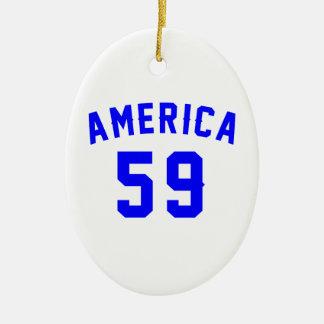 America 59 Birthday Designs Ceramic Ornament