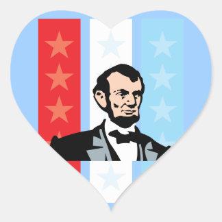 America - Abraham Lincoln President United States Heart Sticker