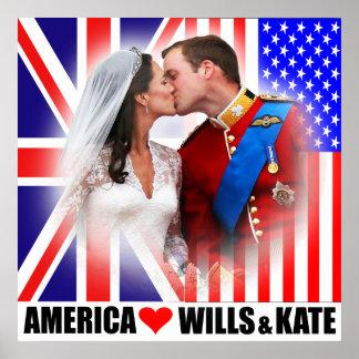 América ama príncipe Guillermo y el poster de Kate