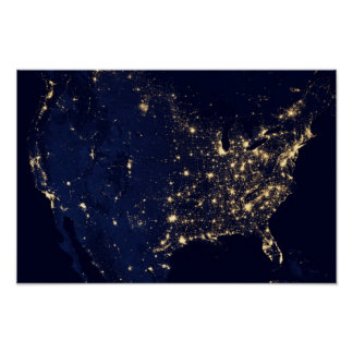 America at Night Posters