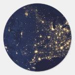 America at Night Round Sticker