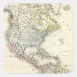 America Atlas Map Square Stickers