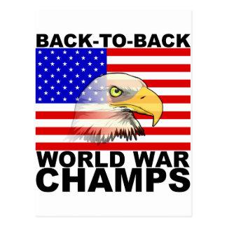 America: Back to Back World War Champs Postcard