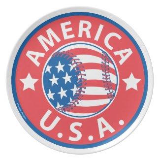 America Baseball USA Dinner Plates