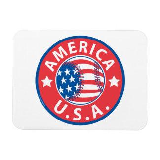 America Baseball USA Rectangular Magnet