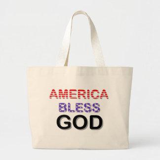 América bendice a dios bolsa tela grande