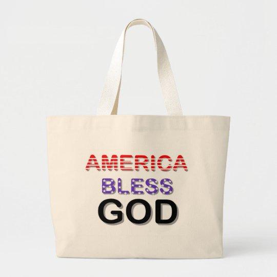 America Bless God Large Tote Bag