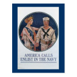 America Calls Enlist in the Navy Post Cards